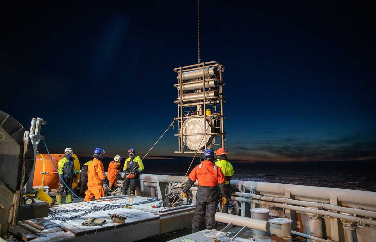 The DURIP awarded to Matthew Dzieciuch will fund acquisition of a low-frequency sound source. The instrument will complement two existing sources that were part of the Coordinated Arctic Acoustic Thermometry Experiment (CAATEX) including the one pictured here. Photo by Daniel Fatnes, Norwegian Coast Guard.